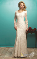 Wholesale Modest long sleeve wedding dress with lace Full length wedding dress