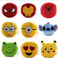 Wholesale 3D cartoon minions stitch Emoji coin purses girls boys kids spiderman superman frog Baymax QQ Expression zero change purse bags pocket hot