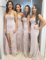 beads parts - Sexy Off Shoulder Mermaid Bridesmaid Dress Sweetheart Lace Beaded Appliques Split Side Long Formal Gown the Maid of Honor Wedding Part