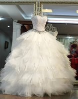 Wholesale Feather Wedding Dress Crystal Belt Puffy Bridal Gown Off Shoulder Bandage White and Ivory Full Size Gift Petticoat Most Size On Storage