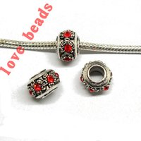 Wholesale Colors Antique Silver Big Hole Bead Crystal European Spacer Beads DIY Bracelet Necklace w03536 w03546 jewelry makin