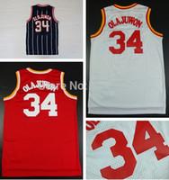 Wholesale Houston Hakeem Olajuwon White Red Dark Blue Stripes Throwback Vintage Retro Jersey Size extra small XS XL