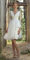 Wholesale Vintage Short Beach Wedding Dresses V Neck Long Sleeve Sheer Neck Knee Length Custom Made Bridal Gowns We Just Do The Best