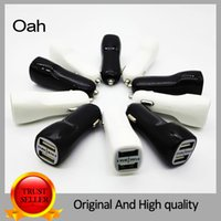 Wholesale Micro Universal Dual USB Car Charger For iPad for Smart phone V A Mini Adapter Black and white