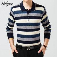 Wholesale Autumn New Knitted Cashmere Wool Sweater Men Business Dress Turn down Collar Pullover Men Striped Pull Homme