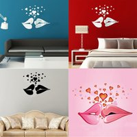 Wholesale 2015 Hot Sale High Quality Black Silver Gold Heart Love Kiss Modern Acrylic Mirror Wall Home Decal Decor Vinyl Art Stickers