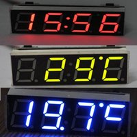 Wholesale 12V V Car Auto Digital Led Electronic Time Clock Thermometer Voltmeter Three Colors For Choose