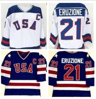 Wholesale Top quality Mike Eruzione Miracle On Ice Jersey USA Olympic Ice Hockey White Navy blue Stitched Customized Jerseys