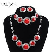antique ruby bracelet - Vintage Ruby Jewelry Set Tibet Alloy Antique Silver Plated Exotic Pendant Red Turquoise Necklaces Bracelets Earrings Set nke m29