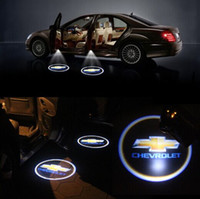 Wholesale 1Pair Wireless LED Car Door Light Chevrolet Welcome Light Laser ghost Shadow Light led Projector Wireless Car Door Light for Chevrolet