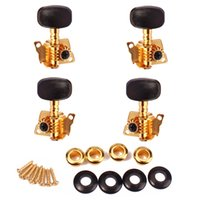 banjo tuning machines - 2R2L String Ukulele Banjo Machine Heads Tuning Pegs Tuners Keys with Black Plastic Button Gold