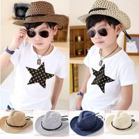 Wholesale Hand woven children s cowboy hat leisure jazz hat New fashion baby sun beach hat Kids summer cool straw hats cap