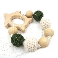 baby wood turtle - New Crochet Beads Natural Eco friendly Baby Teething Toys Safe Infant Chew Turtle Rattle Baby Shower Gift I015