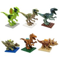 Wholesale 6pcs set Jurassic World Buliding Block Jurassic Park Dinosaur Minifigure brick toy kids gift without box
