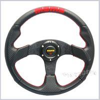 Wholesale 35CM quot RED MOMO PVC Carbon Fibre Leather Deep Dish Sport Racing Steering Wheel