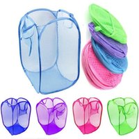 Wholesale Random Color Nylon Mesh Fabric Foldable Large Laundry Basket Household Dirty Clothes Bag Washing Child Toy Storage Organization