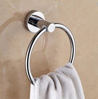 Wholesale Bathroom Hardware Stainless Steel Towel Ring Holder Chrome Finish Wall Mount Round Shape Bath Shower Washcloth Hanger