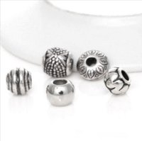 Wholesale 50Pcs Mixed Silver Tone Acrylic Beads Spacers beads Big Hole Beads Fit European Charm Bracelet For Jewelry Making B074
