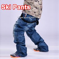 Wholesale snowboard overalls men jeans trousers windproof waterproof cycling zipper fly ski pants denim montura men outdoors glissade