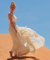 Wholesale Elegant Pieces Beach Wedding Dresses Sleeveless Jewel Neck Lace Chiffon Floor Length Bridal Gowns Custom Made