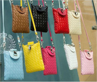 Wholesale Fashion Universal Phone bags Cards Holder Wallet Case For iPhone s Plus Samsung Multi Functional PU Woven Phone Bags Shoulder Bags