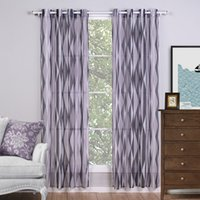 Wholesale C19184 Printed Grey Geometric Curtains For Living Room Modern Style Linen Sheer Curtains Kitchen Door Curtains Piece