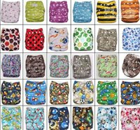 Wholesale Coloful Printed Double Row Of Snaps Infant Leopad Pockets Diapers Nappy Bags Layer Microfiber Inserts pc pc diapers pc inserts