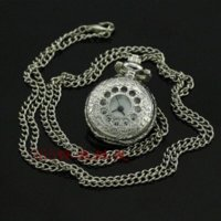alarm pocket watch - A067 White Steel Fashion Charm Hollout Quartz Pocket Watch Xmas Gift watch light alarm monitoring watch speak