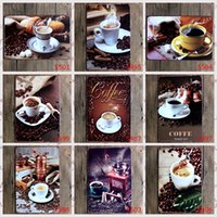 Wholesale quot coffee quot retro iron metal wall painting metal Tin signs poster Art House Cafe Bar KTV Vintage Metal Painting wall stickers home decor X30cm