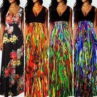 basic trade - Summer European Sexy V Lead Printing Dress Foreign Trade Will Code Suit dress Longuette Basic models Women