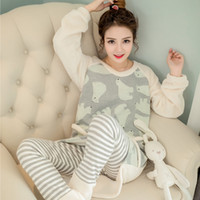 Wholesale Korean Version Of The New Autumn And Winter Pajamas Thick Warm Women Lovely Coral Velvet Flannel Home Suits SW05