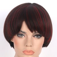average boy - Cosplay Wig Straight hair Heat Resistant Synthetic cm Man Boy Short Two mixed color Animation wig