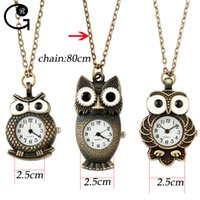 analog shirts - GR Antique Fashion Alloy Vivid Owl Cartoon Pocket Watches Pendent Necklace For T Shirt Sweater Modern Jewelry Accessories