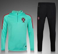 Wholesale 2016 Portugal training tracksuit Ronaldo Training suit maillot Sweatshirts football shirt Pants