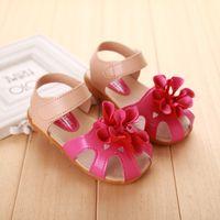 anti slip soles - New Kids Sandles Princess Shoes Toe Protection Big Flower Bowknot Summer Style Anti slip TPR Sole Hook Loop