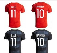 Wholesale Thai quality Soccer jersey Bale home Red RAMSEY away black ALLEN TAYLOR WARD Wales football Maillot de Foot Football