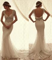 beaded open back dresses - Lace Open Back Wedding Dresses Anna Campbell Gorgeous Mermaid Sweetheart Cap Sleeves with Crystal Beaded Beach Boho Bridal Gowns