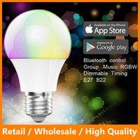 Wholesale Smart Bluetooth LED Light Bulbs Wireless Control Speaker Smart Music Audio Speaker LED RGB Color Bulb Light Lamps
