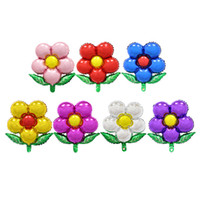 aluminum flower - Foil Balloons Party Decoration x45cm Cartoon Flower with Leaves Balloons Aluminum Film Foil Balloon Wedding Birthday Party Supplies