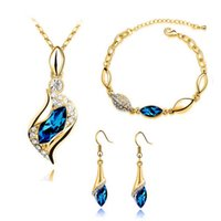 Wholesale Fashion Jewelry Sets High Quality Pendant Necklace Earrings Bracelets Sets Austrian Crystal Zircon Diamond Plating K Gold Colors Women