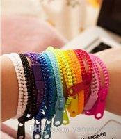 achat en gros de bracelets zip-2016 Nouveau bracelet à glissière à la mode bracelet à deux boutons double couleur hip hop en plastique bracelet à candy Bracelet à fermeture à glissière populaire 60colors