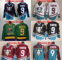 Wholesale Throwback Anaheim Mighty Ducks Paul Kariya Jersey Purple White Black Green Teal Red Vintage hockey jersey stitched Free shippi