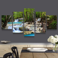 beautiful waterfall pictures - 5p modern Home Furnishing HD picture Canvas Print art wall of the sitting room children room decoration theme Beautiful waterfall