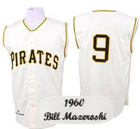 Wholesale Cheap High Top Shorts - Top Quality ! Bill Mazeroski Jersey, Cheap Pittsburgh Pirates 9# Throwback Baseball Jersey, High Quality Stitched Jerseys Beige Mix Order