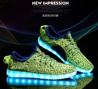 red plaid fabric - HOT Color LED Flash Shoes USB charging Boost Sneakers Running Shoes for Mens And Womens shoe Fly line of knitting
