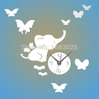 Wholesale 2015 High Quality Metal D Modern DIY Home Decor Decoration Wall Clock Elephants Play Butterfly Sticker Big Watch