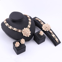 american retro pearl jewelry - Elegant African Retro Dubai K Gold Silver Plated Crystal Necklace Earrings Ring Bracelet Jewelry Sets For Women Wedding Party