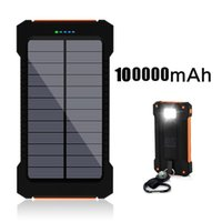 Wholesale Orange Waterproof Solar Power Bank Mah Solar Charger Dual USB Power Bank with LED Light for iPhone S Plus for Android Cell Phone