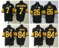 Wholesale 100 Stitiched Pittsburgh jerseys Steelers Antonio Brown Ben Roethlisberger Le Veon Bell mens RUSH Limited jerseys