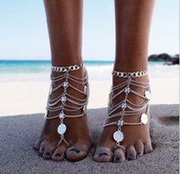 Wholesale Antique Silver coin Anklets Fashion Coin Tassel Leg Bracelet For Women To Beach Ankle bracelets Chaine Cheville Tobillera Foot Chain Anklets